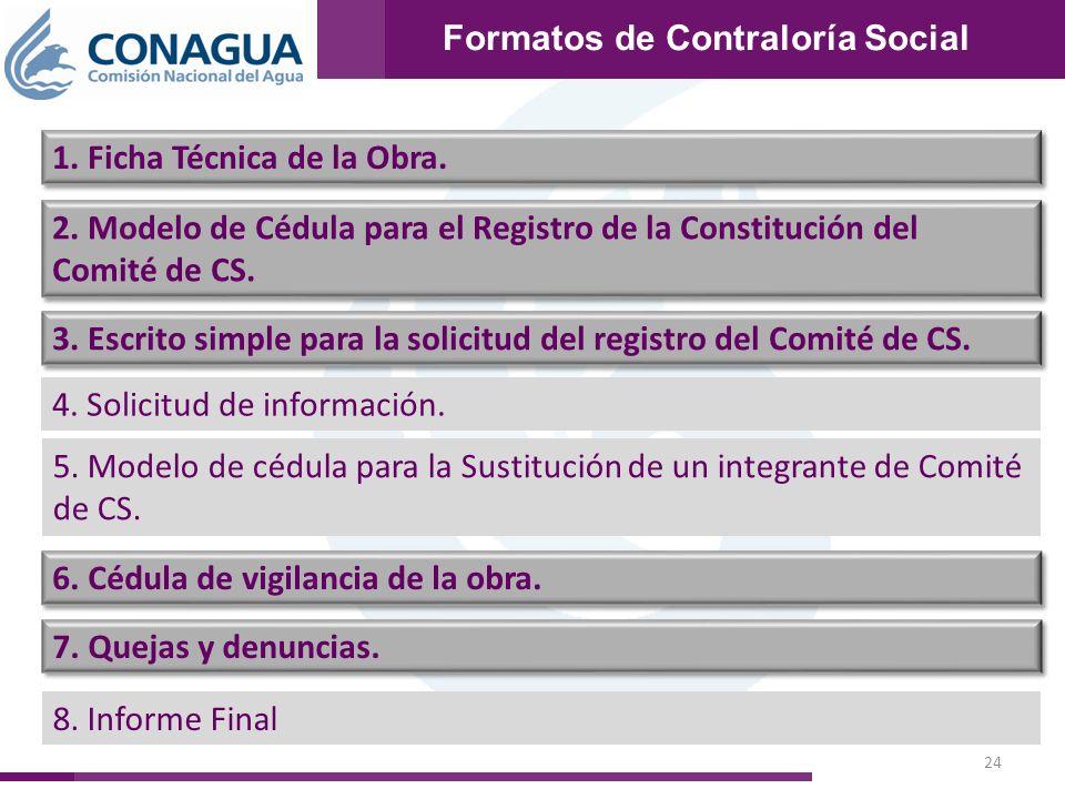 24 Formatos de Contraloría Social 1. Ficha Técnica de la Obra. 2. Modelo de Cédula para el Registro de la Constitución del Comité de CS. 3. Escrito si