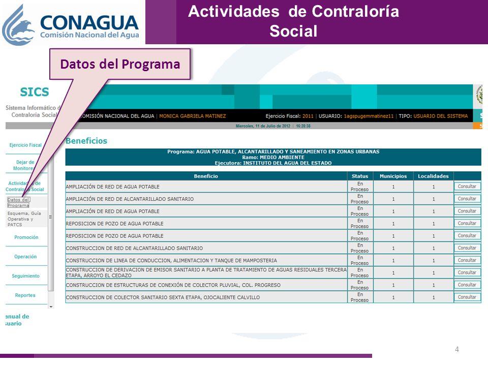 4 Actividades de Contraloría Social Datos del Programa