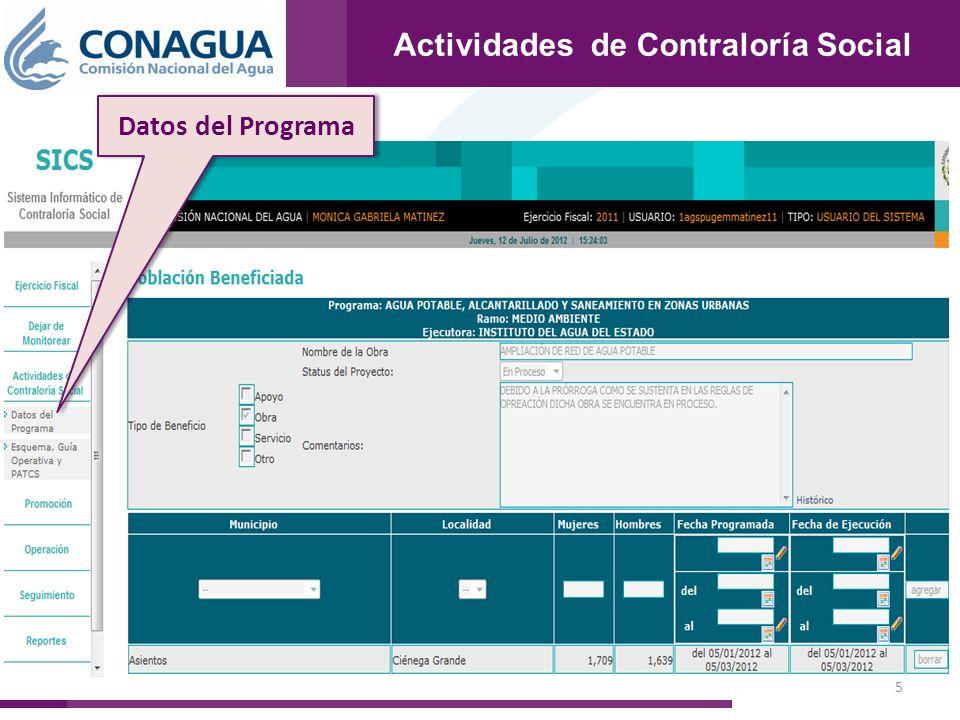 6 Actividades de Contraloría Social Datos del Programa