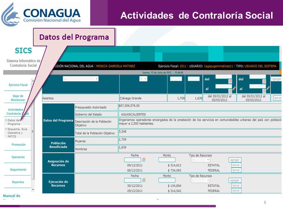 17 Reportes Datos del Programa Reportes