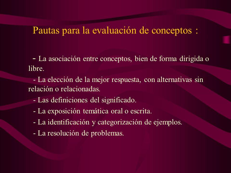 Pautas para la evaluación de conceptos : - La asociación entre conceptos, bien de forma dirigida o libre. - La elección de la mejor respuesta, con alt