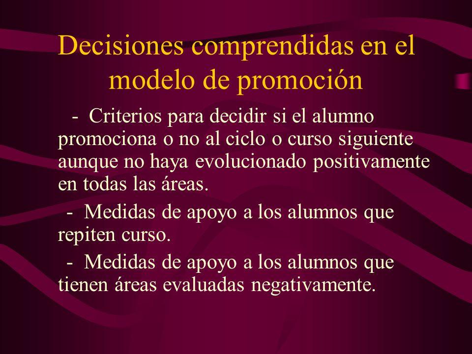 Decisiones comprendidas en el modelo de promoción - Criterios para decidir si el alumno promociona o no al ciclo o curso siguiente aunque no haya evol