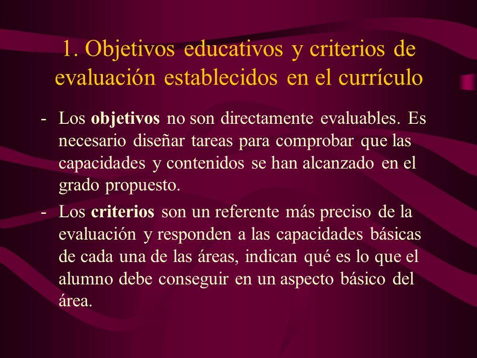 1. Objetivos educativos y criterios de evaluación establecidos en el currículo -Los objetivos no son directamente evaluables. Es necesario diseñar tar
