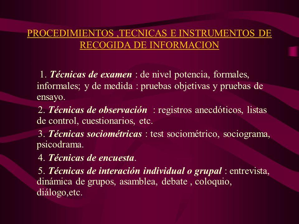 PROCEDIMIENTOS,TECNICAS E INSTRUMENTOS DE RECOGIDA DE INFORMACION 1. Técnicas de examen : de nivel potencia, formales, informales; y de medida : prueb