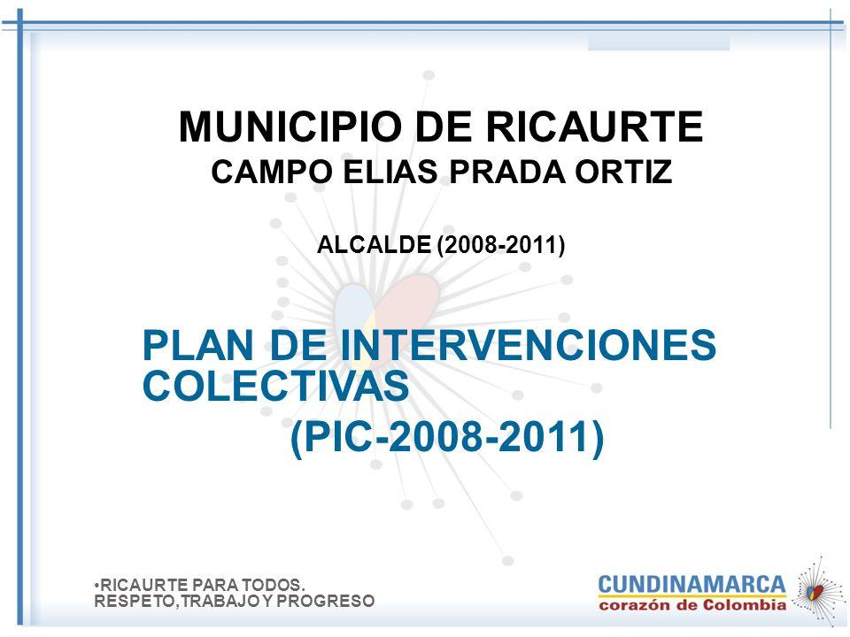 MUNICIPIO DE RICAURTE CAMPO ELIAS PRADA ORTIZ ALCALDE (2008-2011) PLAN DE INTERVENCIONES COLECTIVAS (PIC-2008-2011) RICAURTE PARA TODOS.