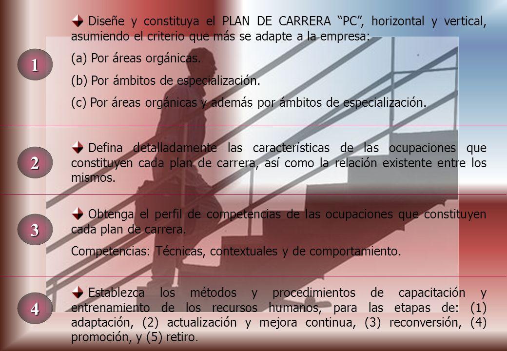 1 Diseñe y constituya el PLAN DE CARRERA PC, horizontal y vertical, asumiendo el criterio que más se adapte a la empresa: (a) Por áreas orgánicas.