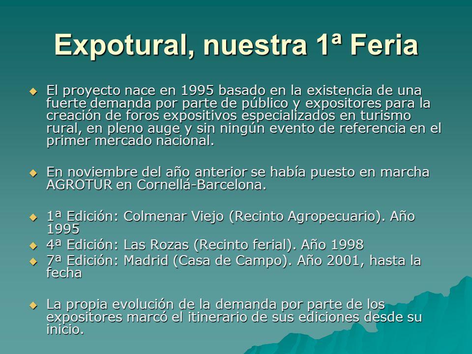 Expotural, nuestra 1ª Feria El proyecto nace en 1995 basado en la existencia de una fuerte demanda por parte de público y expositores para la creación de foros expositivos especializados en turismo rural, en pleno auge y sin ningún evento de referencia en el primer mercado nacional.