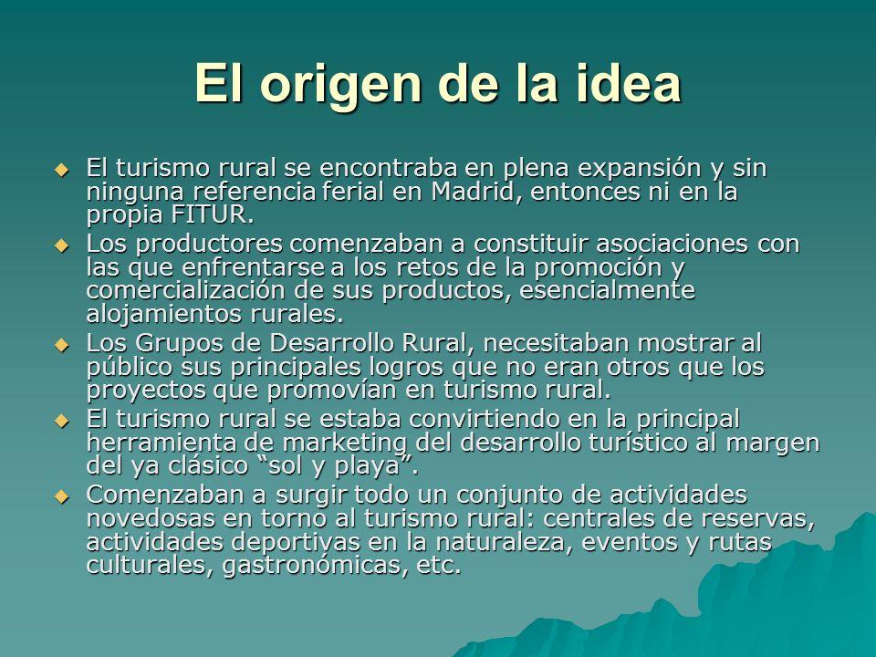 El origen de la idea El turismo rural se encontraba en plena expansión y sin ninguna referencia ferial en Madrid, entonces ni en la propia FITUR.