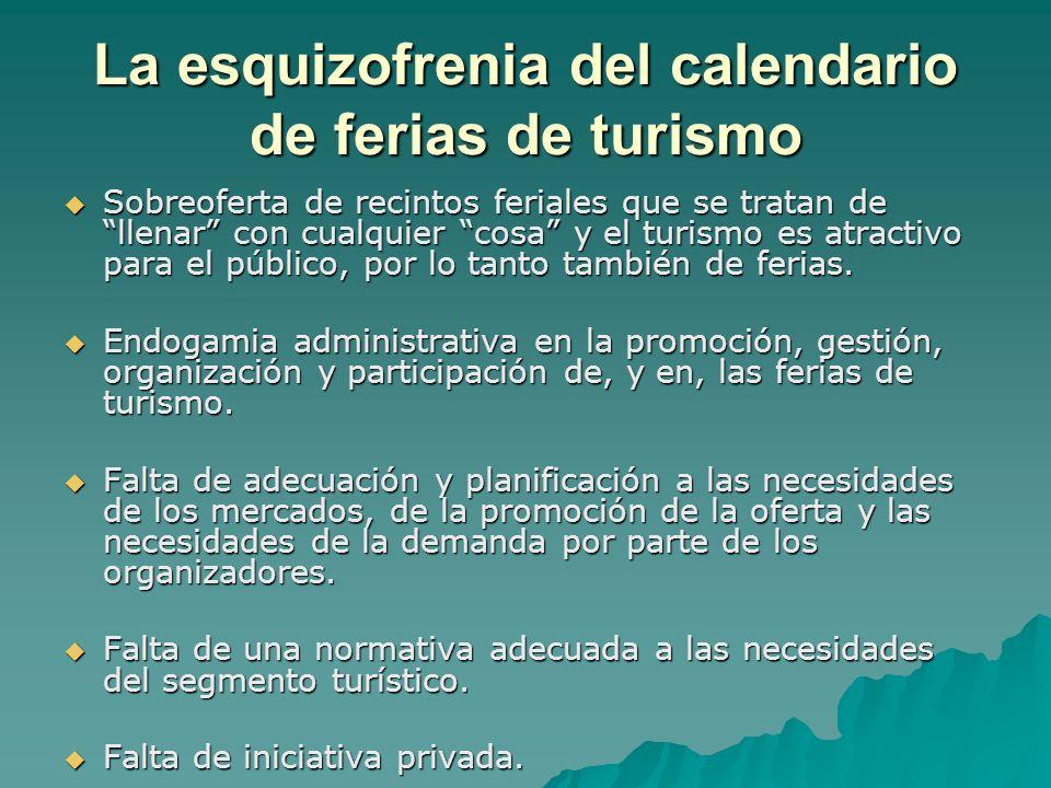 La esquizofrenia del calendario de ferias de turismo Sobreoferta de recintos feriales que se tratan de llenar con cualquier cosa y el turismo es atractivo para el público, por lo tanto también de ferias.