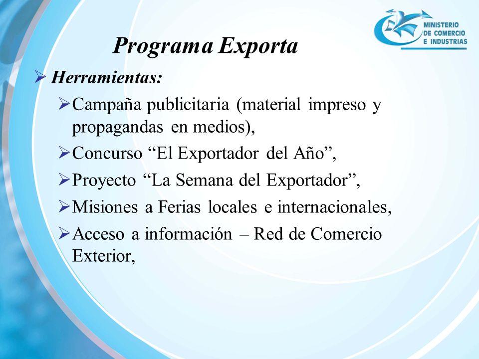 Herramientas: Campaña publicitaria (material impreso y propagandas en medios), Concurso El Exportador del Año, Proyecto La Semana del Exportador, Misi