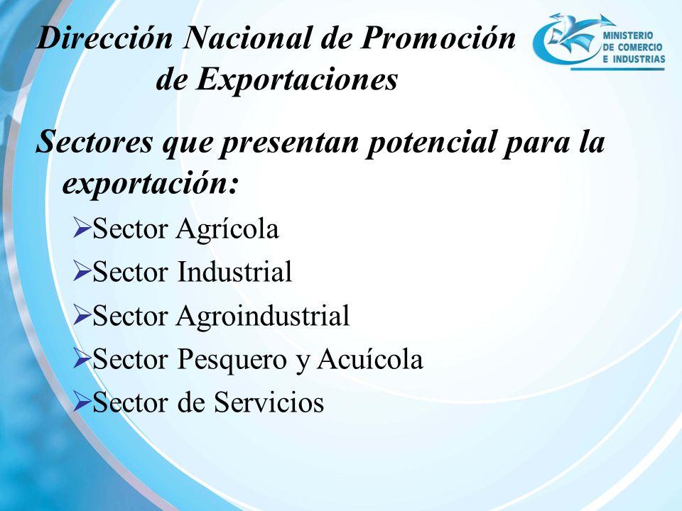 Sectores que presentan potencial para la exportación: Sector Agrícola Sector Industrial Sector Agroindustrial Sector Pesquero y Acuícola Sector de Ser