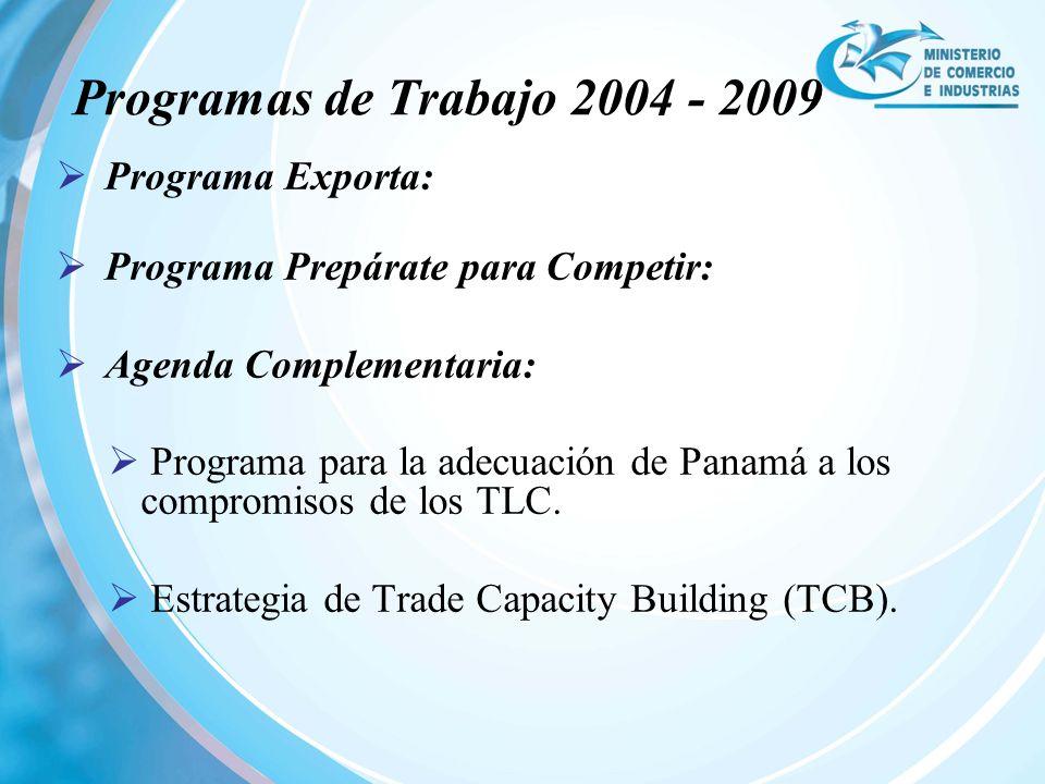 Programa Exporta: Programa Prepárate para Competir: Agenda Complementaria: Programa para la adecuación de Panamá a los compromisos de los TLC. Estrate
