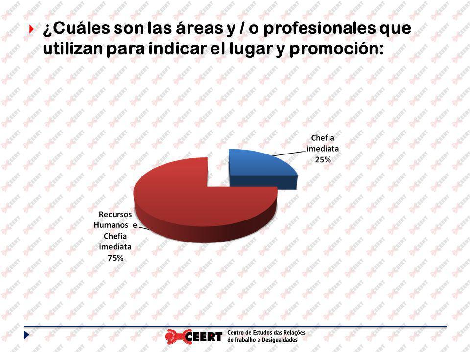 ¿Cuáles son las áreas y / o profesionales que utilizan para indicar el lugar y promoción: