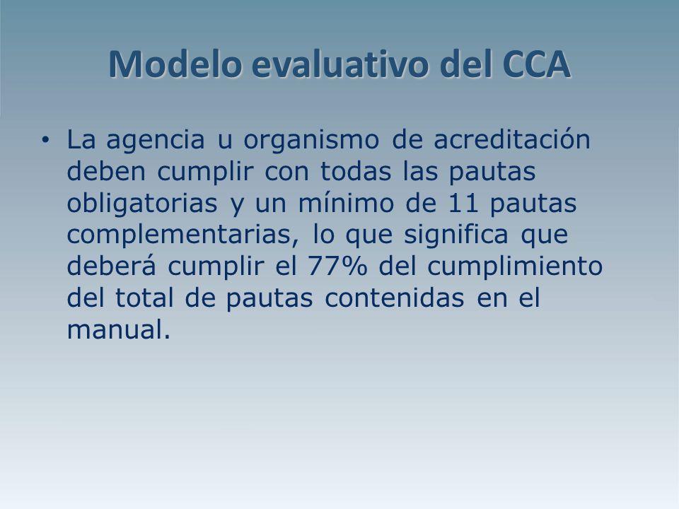 Modelo evaluativo del CCA La agencia u organismo de acreditación deben cumplir con todas las pautas obligatorias y un mínimo de 11 pautas complementarias, lo que significa que deberá cumplir el 77% del cumplimiento del total de pautas contenidas en el manual.