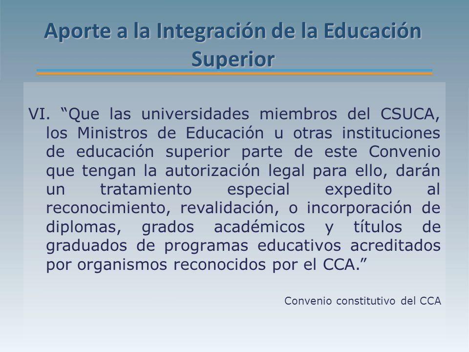 Aporte a la Integración de la Educación Superior VI.