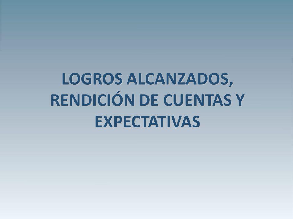 LOGROS ALCANZADOS, RENDICIÓN DE CUENTAS Y EXPECTATIVAS