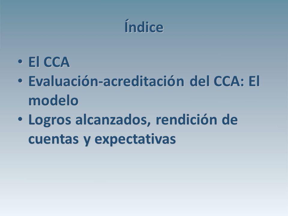 Índice El CCA El CCA Evaluación-acreditación del CCA: El modelo Evaluación-acreditación del CCA: El modelo Logros alcanzados, rendición de cuentas y expectativas Logros alcanzados, rendición de cuentas y expectativas