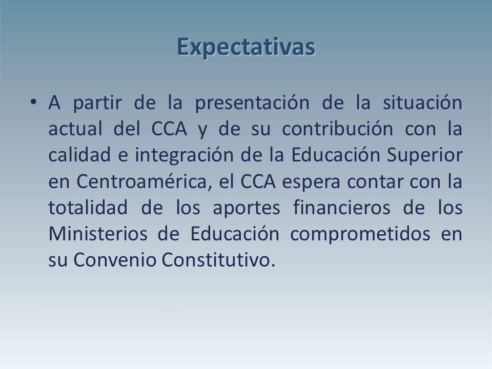 Expectativas A partir de la presentación de la situación actual del CCA y de su contribución con la calidad e integración de la Educación Superior en Centroamérica, el CCA espera contar con la totalidad de los aportes financieros de los Ministerios de Educación comprometidos en su Convenio Constitutivo.
