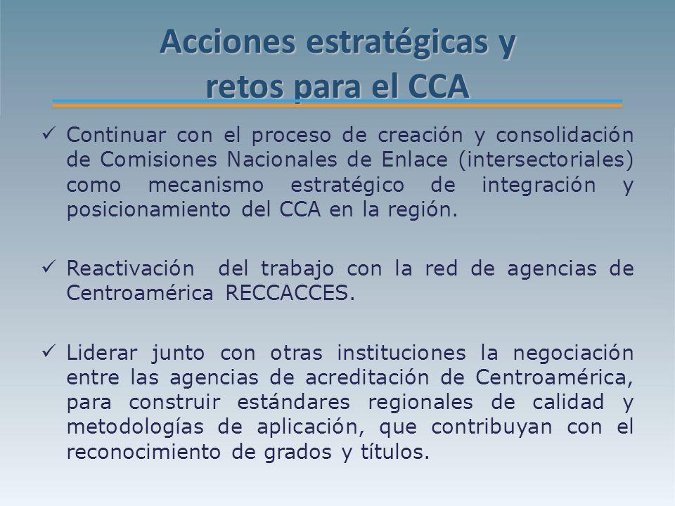 Acciones estratégicas y retos para el CCA Continuar con el proceso de creación y consolidación de Comisiones Nacionales de Enlace (intersectoriales) como mecanismo estratégico de integración y posicionamiento del CCA en la región.