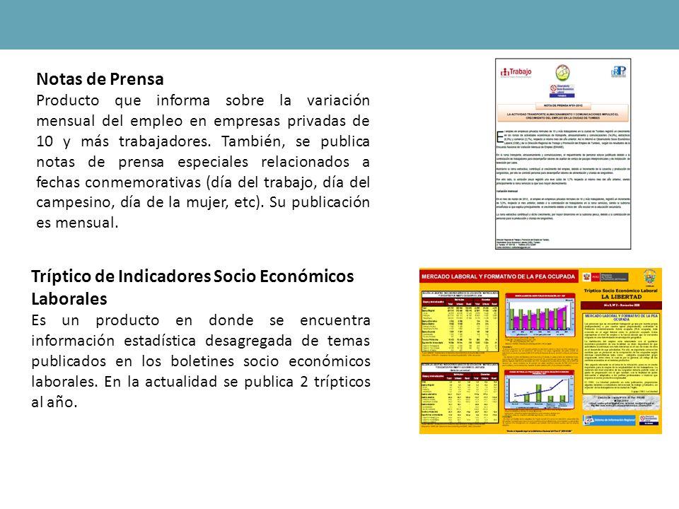 Notas de Prensa Producto que informa sobre la variación mensual del empleo en empresas privadas de 10 y más trabajadores. También, se publica notas de