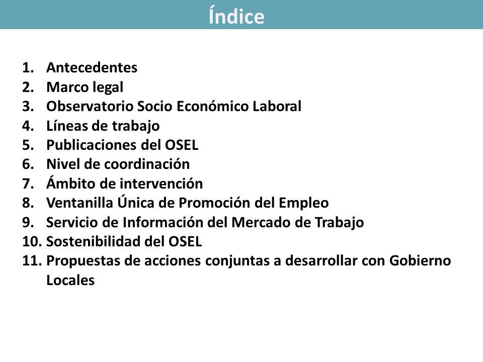 1.Antecedentes 2.Marco legal 3.Observatorio Socio Económico Laboral 4.Líneas de trabajo 5.Publicaciones del OSEL 6.Nivel de coordinación 7.Ámbito de i