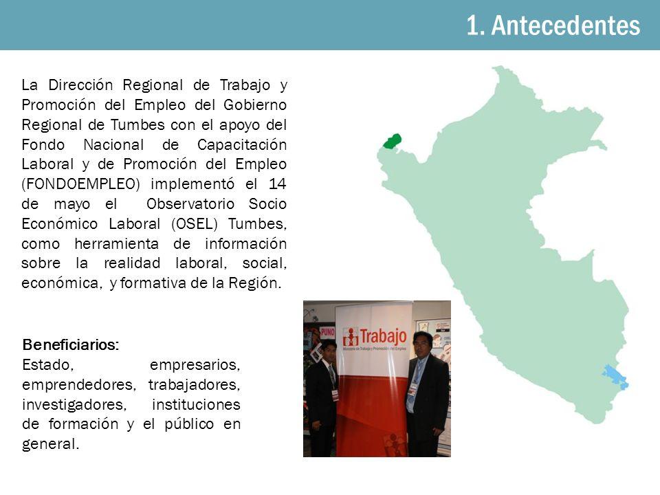 1. Antecedentes La Dirección Regional de Trabajo y Promoción del Empleo del Gobierno Regional de Tumbes con el apoyo del Fondo Nacional de Capacitació