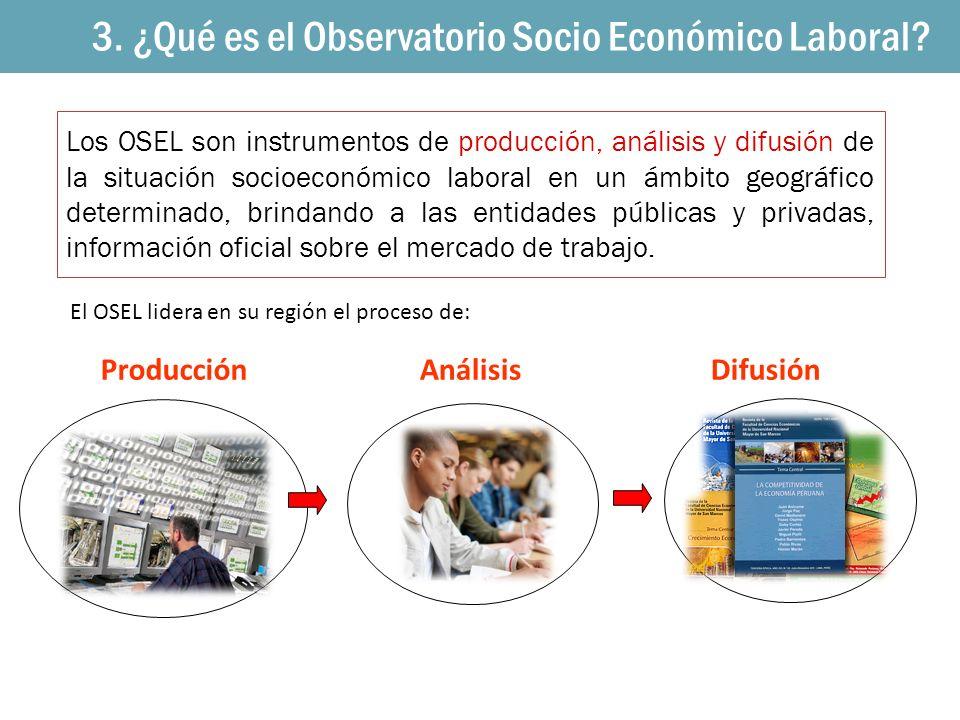 Los OSEL son instrumentos de producción, análisis y difusión de la situación socioeconómico laboral en un ámbito geográfico determinado, brindando a l