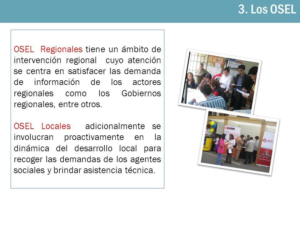 OSEL Regionales tiene un ámbito de intervención regional cuyo atención se centra en satisfacer las demanda de información de los actores regionales co