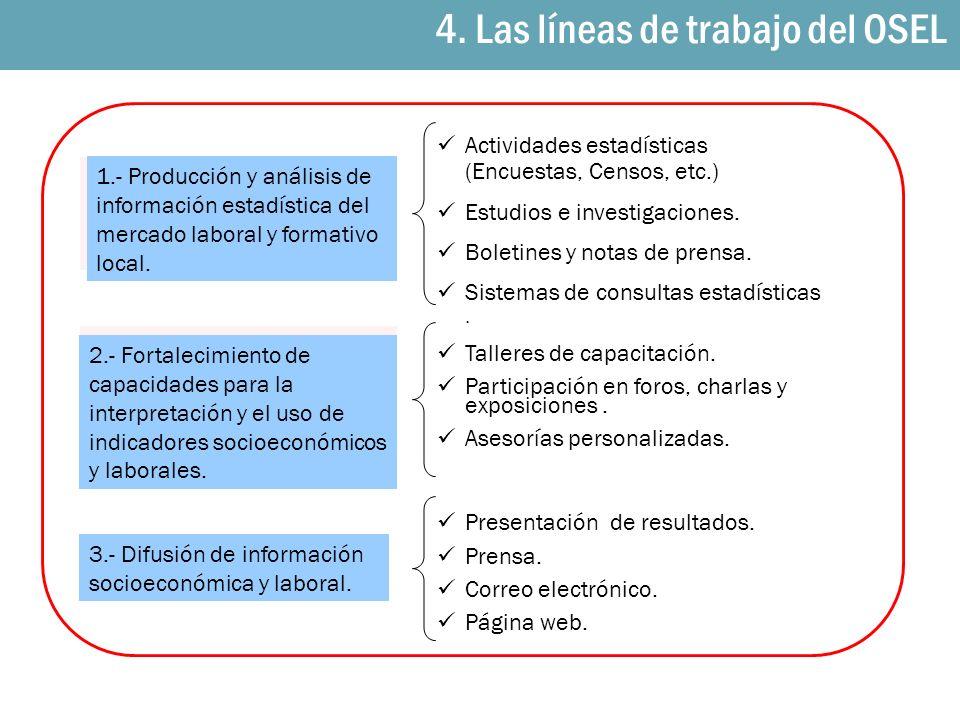 1.- Producción y análisis de información estadística del mercado laboral y formativo local. 2.- Fortalecimiento de capacidades para la interpretación