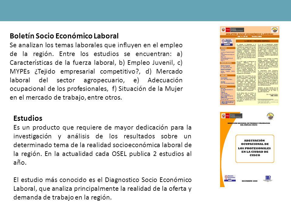 Boletín Socio Económico Laboral Se analizan los temas laborales que influyen en el empleo de la región. Entre los estudios se encuentran: a) Caracterí