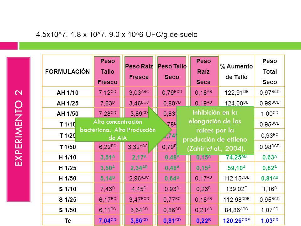 FORMULACIÓN Peso Tallo Fresco Peso Raíz Fresca Peso Tallo Seco Peso Raíz Seca % Aumento de Tallo Peso Total Seco AH 1/107,12 CD 3,03 ABC 0,79 BCD 0,18