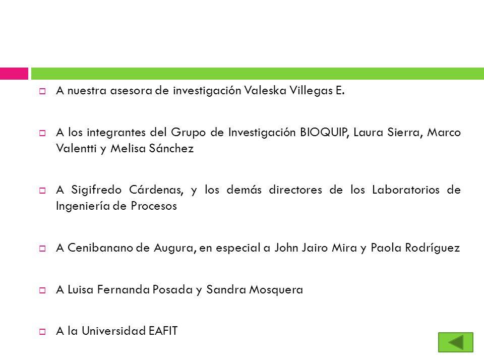 A nuestra asesora de investigación Valeska Villegas E. A los integrantes del Grupo de Investigación BIOQUIP, Laura Sierra, Marco Valentti y Melisa Sán