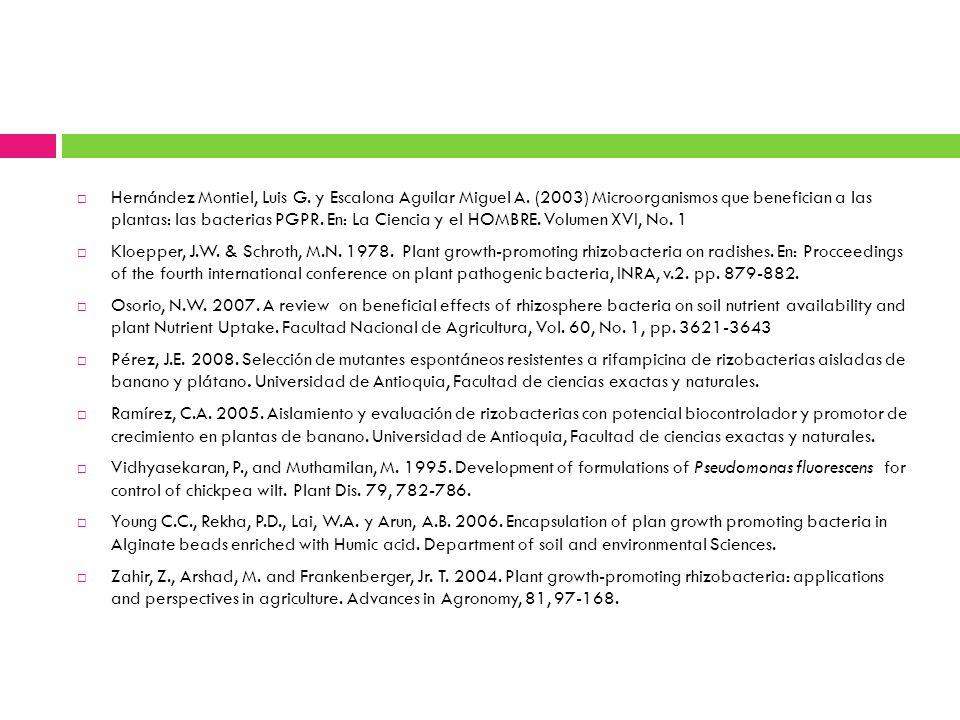 Hernández Montiel, Luis G. y Escalona Aguilar Miguel A. (2003) Microorganismos que benefician a las plantas: las bacterias PGPR. En: La Ciencia y el H