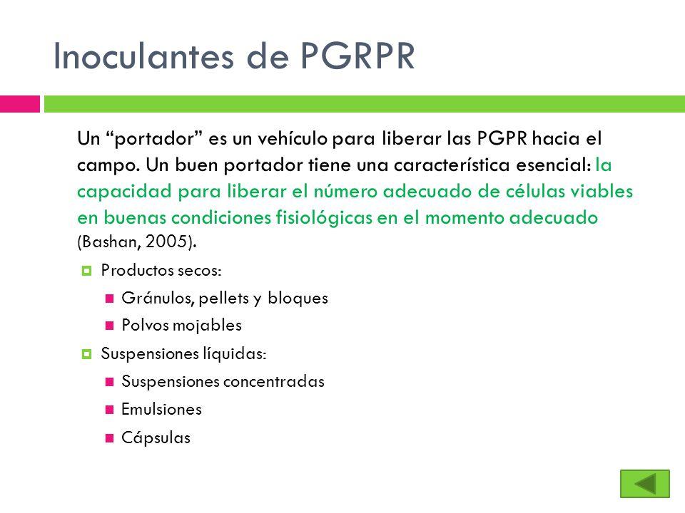 Inoculantes de PGRPR Un portador es un vehículo para liberar las PGPR hacia el campo. Un buen portador tiene una característica esencial: la capacidad