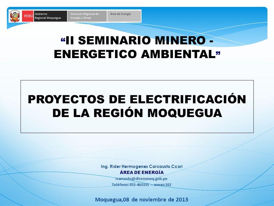 II SEMINARIO MINERO - ENERGETICO AMBIENTAL Ing. Rider Hermogenes Carcausto Ccori ÁREA DE ENERGÍA rcarcusto@diremmoq.gob.pe Teléfono: 053-463335 – anex