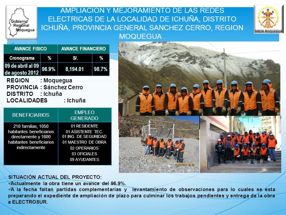 AMPLIACION Y MEJORAMIENTO DE LAS REDES ELECTRICAS DE LA LOCALIDAD DE ICHUÑA, DISTRITO ICHUÑA, PROVINCIA GENERAL SANCHEZ CERRO, REGION MOQUEGUA. REGION