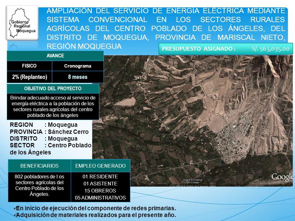 AMPLIACIÓN DEL SERVICIO DE ENERGÍA ELÉCTRICA MEDIANTE SISTEMA CONVENCIONAL EN LOS SECTORES RURALES AGRÍCOLAS DEL CENTRO POBLADO DE LOS ÁNGELES, DEL DI