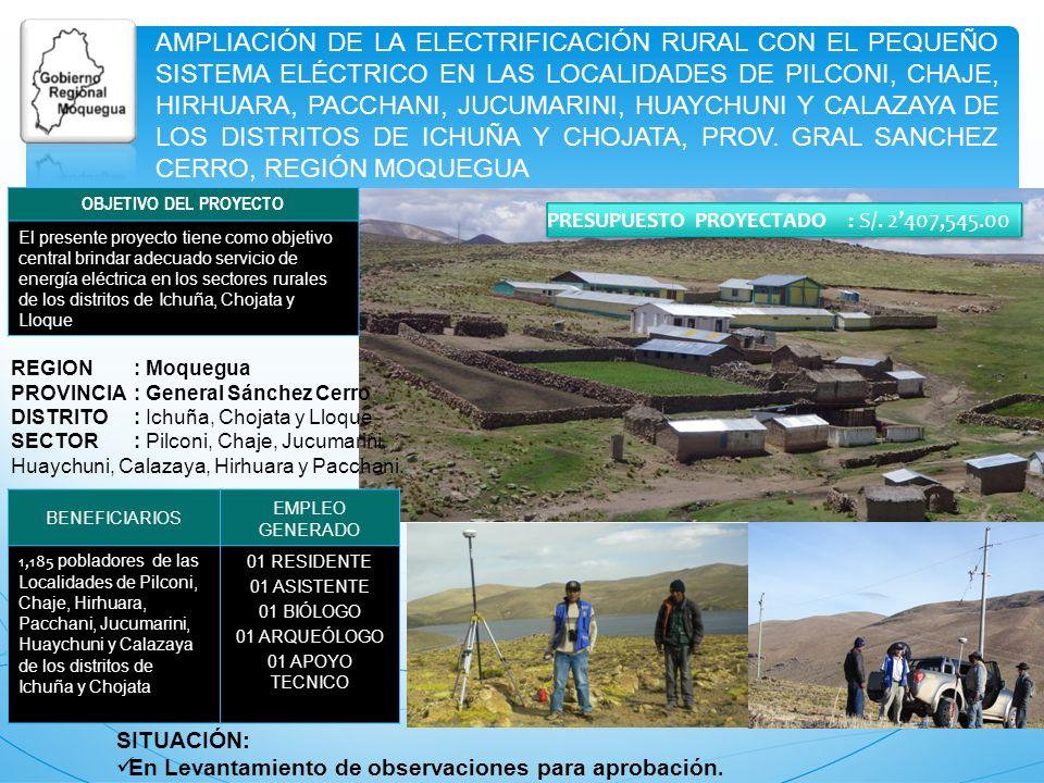 AMPLIACIÓN DE LA ELECTRIFICACIÓN RURAL CON EL PEQUEÑO SISTEMA ELÉCTRICO EN LAS LOCALIDADES DE PILCONI, CHAJE, HIRHUARA, PACCHANI, JUCUMARINI, HUAYCHUN