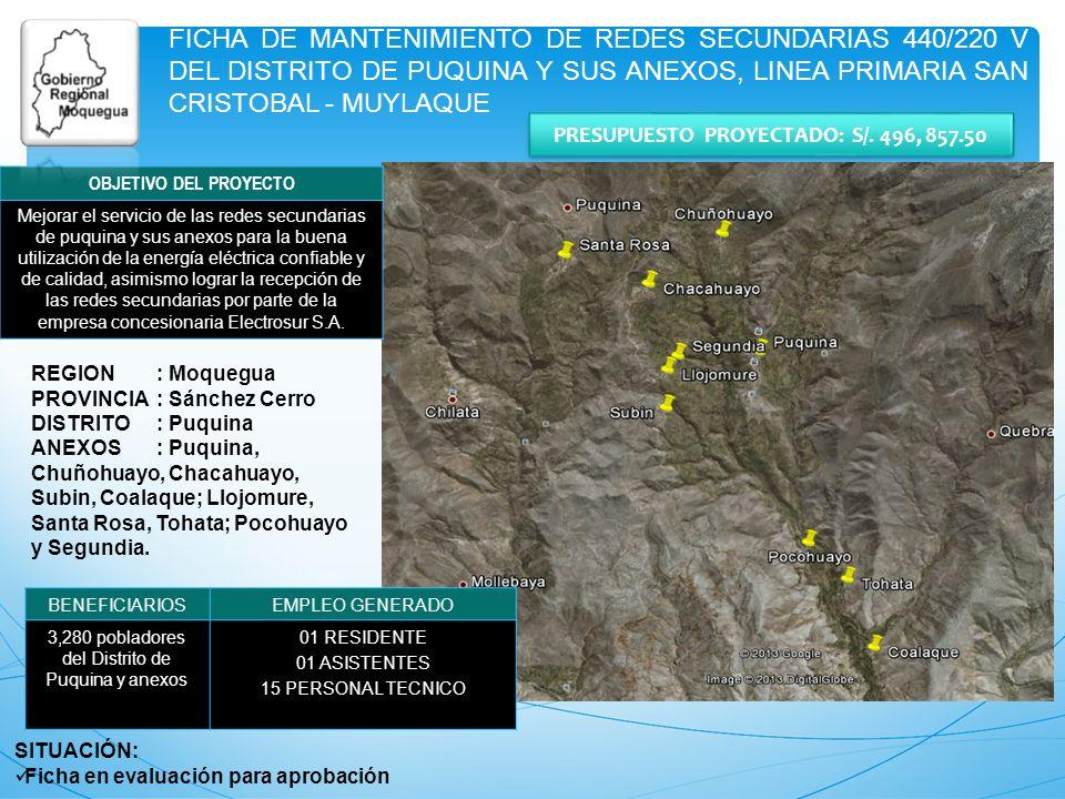 FICHA DE MANTENIMIENTO DE REDES SECUNDARIAS 440/220 V DEL DISTRITO DE PUQUINA Y SUS ANEXOS, LINEA PRIMARIA SAN CRISTOBAL - MUYLAQUE REGION: Moquegua P