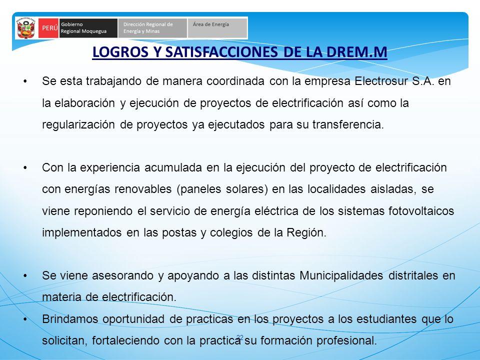 22 LOGROS Y SATISFACCIONES DE LA DREM.M Se esta trabajando de manera coordinada con la empresa Electrosur S.A. en la elaboración y ejecución de proyec