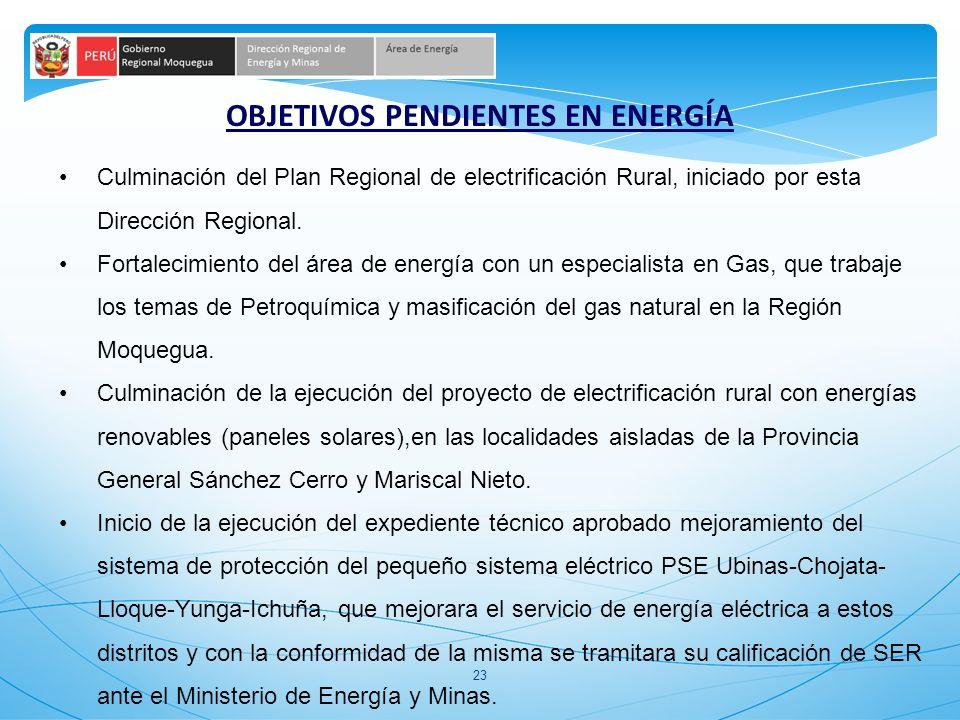 23 OBJETIVOS PENDIENTES EN ENERGÍA Culminación del Plan Regional de electrificación Rural, iniciado por esta Dirección Regional. Fortalecimiento del á