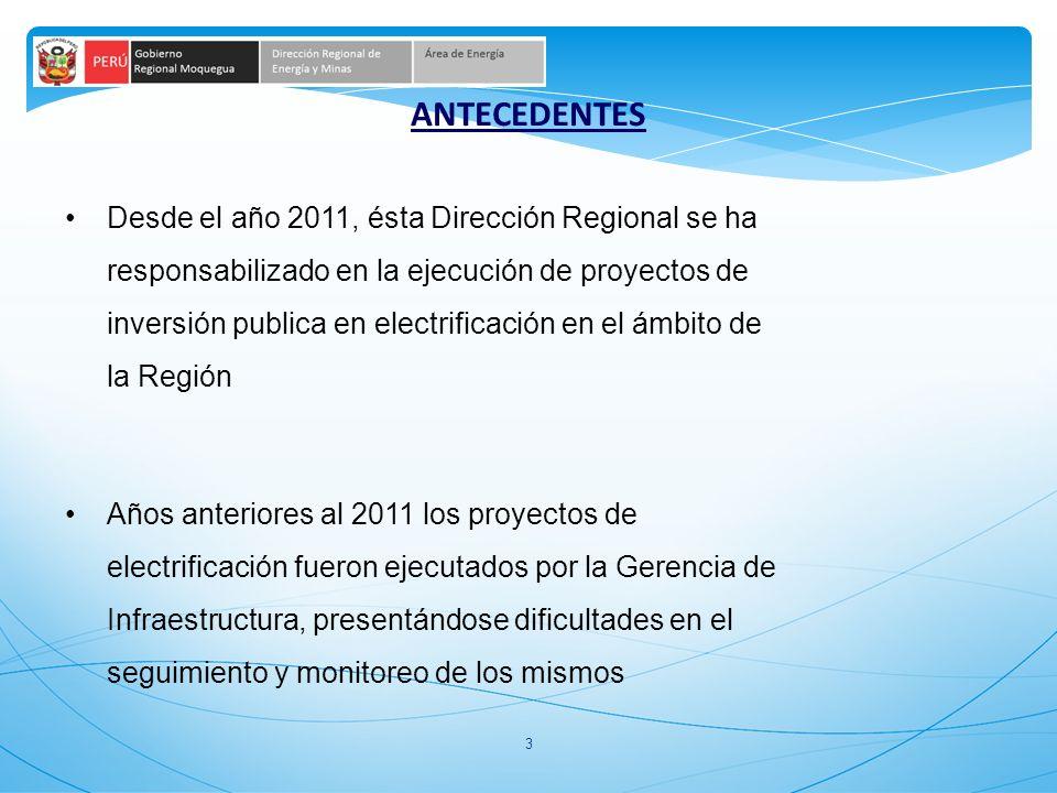 3 Desde el año 2011, ésta Dirección Regional se ha responsabilizado en la ejecución de proyectos de inversión publica en electrificación en el ámbito