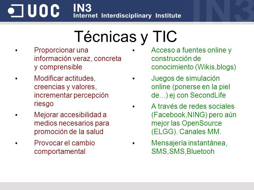 Técnicas y TIC Proporcionar una información veraz, concreta y comprensible Modificar actitudes, creencias y valores, incrementar percepción riesgo Mej