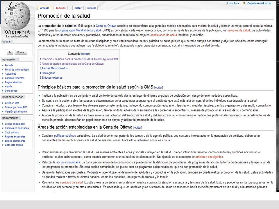 LINEAS DE ACCIÓN CLAVES EN PROMOCIÓN DE LA SALUD (OTTAWA 86) * Construir políticas públicas saludables.