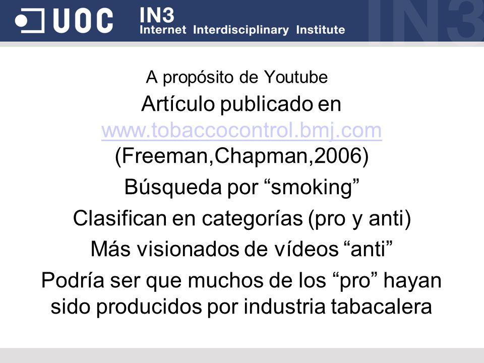 A propósito de Youtube Artículo publicado en www.tobaccocontrol.bmj.com (Freeman,Chapman,2006) www.tobaccocontrol.bmj.com Búsqueda por smoking Clasifi