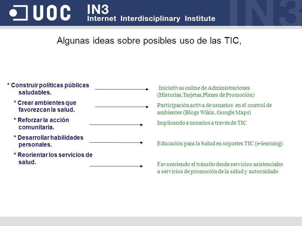 Algunas ideas sobre posibles uso de las TIC, * Construir políticas públicas saludables. * Crear ambientes que favorezcan la salud. * Reforzar la acció
