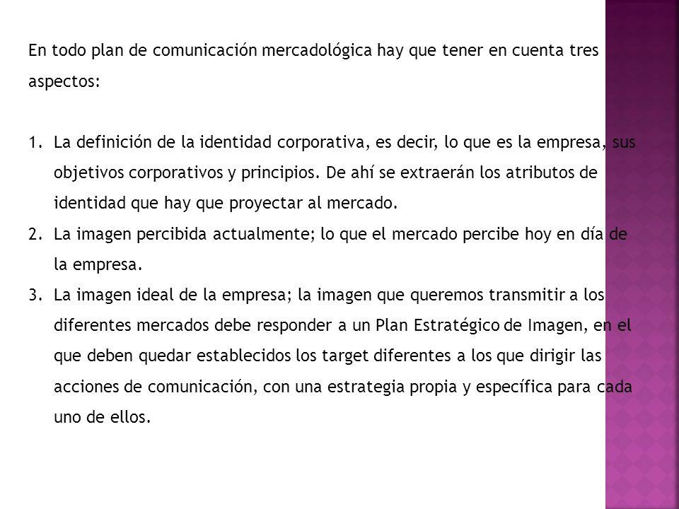 En todo plan de comunicación mercadológica hay que tener en cuenta tres aspectos: 1.La definición de la identidad corporativa, es decir, lo que es la