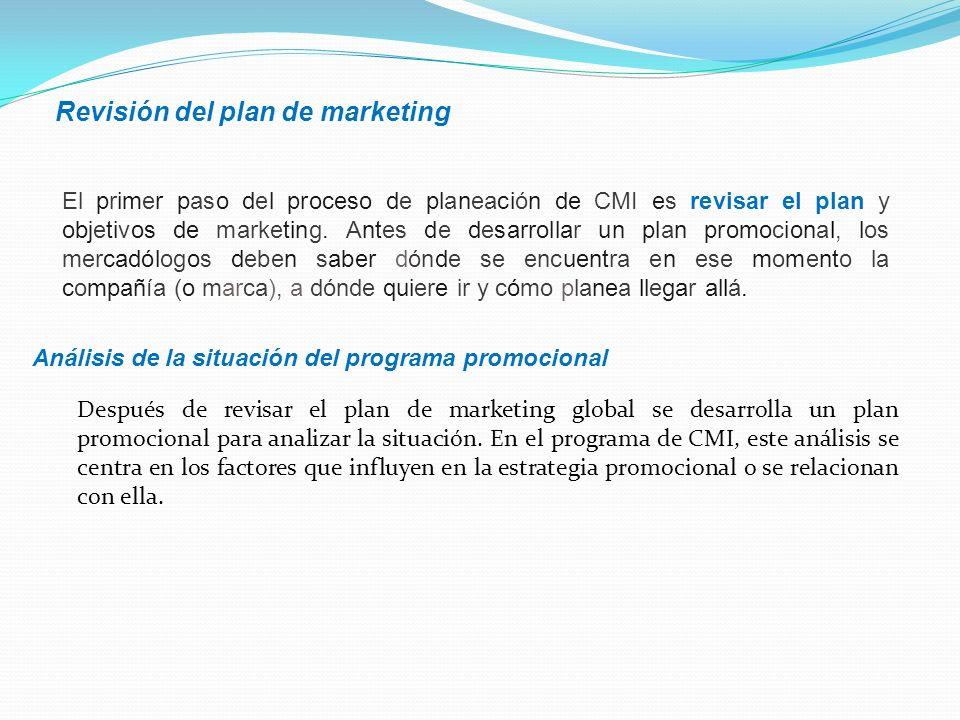 El primer paso del proceso de planeación de CMI es revisar el plan y objetivos de marketing. Antes de desarrollar un plan promocional, los mercadólogo