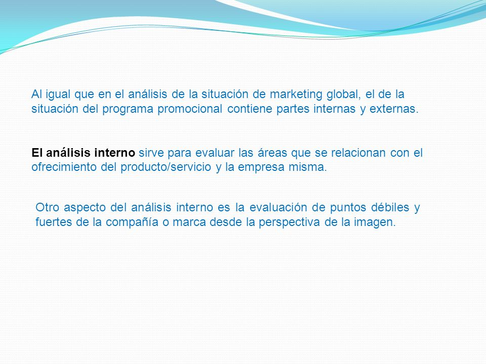 Al igual que en el análisis de la situación de marketing global, el de la situación del programa promocional contiene partes internas y externas. El a