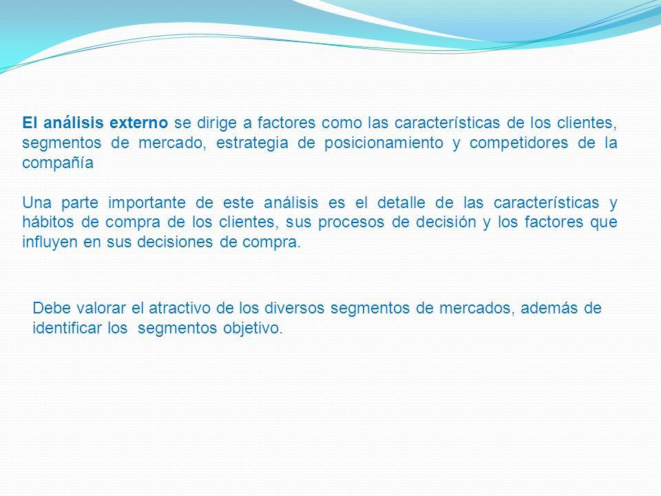 El análisis externo se dirige a factores como las características de los clientes, segmentos de mercado, estrategia de posicionamiento y competidores
